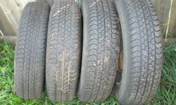 I have a set of four (4) Motomaster AW all season tires in P155/80R13. Tires have approx 75% tread left, with no weather cracking. They are currently on 4x114.3 steel rims. They came off of my suzuki swift. Asking $125 obo