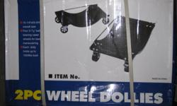 I purchased 4 boxes of these wheel dolly sets not realizing that each box contained two dollies. I only need 4 so I am selling the remaining 4 dollies. I will sell you either the assembled ones or the ones still in the boxes.Each metal dolly is rated at