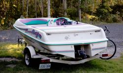 Jet Boat for sale, needs engine work. Good winter project. Very fast (when running). Once piston has very low compression. Comes with cover and trailer. Mercury motor. Seats and interior all in very good condition.