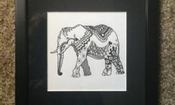 This is an original ink drawing of an elephant, framed in a black silk mat and a black frame. outside frame dimension is 9x9 inches.