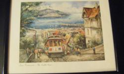 "Framed San Francisco Cable Car print by Brunet (bottom right corner of print) Clover Edition Made in France Frame size 12"" x 15"" Print 8 1/2"" x 11"" Good condition"
