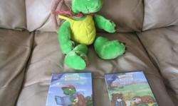 FRANKLIN LOT - 1 stuffed Franklin Doll And 2 BRAND NEW & UNOPENED Franklin DVDS Plays in both French & English 1) Learning & Laughing - includes 9 stories: Franklin is Messy Franklin Fibs Franklin's Blanket Franklin is Bossy Franklin's Fort Franklins New
