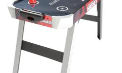 "The Franklin Sports 48"" Zero Gravity Sports Hockey Table is 48"" x 27"" x 32"" and features a high gloss surface for competitive play. The slanted leg design is for intense action and the corner caps offer added support. MDF construction provides maximum"