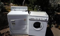 Free washer and dryer available for pickup Dryer has a fault with its timer which causes it to not turn off, otherwise works perfectly. Washer needs a new ball bearing Please contact via phone at (250) 589-7004 if interested