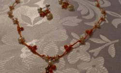 Freshwater Pearl and Orange Bead Necklace and Earrings Set. 16 inches + 3 inch extender. Goldtone. Pierced Earrings. Non-smoking home.