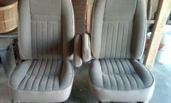 CHECK OUT MY OTHER ADS! firm on price.  Fully re-upolstered front seats. We paid $500+ a couple of years ago to get them done and never ended up installing them. Mint condition. Came from a 1991 Ford 250 ext cab. I think they fit up to 1996 and other
