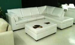 Full 100% Leather SECTIONAL $2099 Gorgeous leather throughout (even the backs are leather ... no synthetics whatsoever). Nylon straps, no springs, movable seats. Left or right facing Chaise ... Made in Canada. Can be in your home in 3 weeks. Ask for