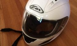 This is a very clean safe helmet. The strap is frayed and is reflected in the cost. It says XS, but I also have a helmet that says L and they fit the same I live in F airfield. If the ad is here the helmet is available. David