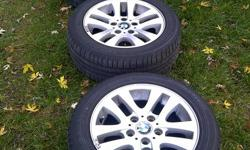 """Selling a set of four OEM style 156 BMW e90 16"""" rims/wheels with Bridgestone Turanza EL42 205/55/R16 91H run flat tires RFT. Came off 2007 BMW e90 325i. Rims are in perfect condition - no scratches or chips. They are not replicas. Tires are Bridgestone"""