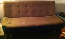 Hi, I am selling a futon that can be converted to a bed. I had used it as a bed before and it was quite comfortable. I'm only selling since I purchased a bed and do not need this anymore. It has 1 small burn hole but other than that is in good condition.