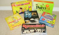 Games are in great condition and contain all the pieces. Some have only been played a few times. Would make a great Christmas gift. Games are: Smart A** (trivia game) 24 DVD Board Game Rummikub (rummy tile game) Battle of the Sexes Cranium Partini Jenga