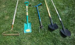 Various garden tools for sale. Only $10 each tool. We are located in Orleans. See our list of other items for sale. First come, first served.