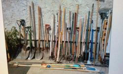 Spring has arrived today. We have a good variety of garden tools for sale. Garden cultivators, garden claw, rakes , hoes, shovels, spades, weed removal tools, hedge clippers, brooms, gas powered lawn trimmer, Ready to jump into action soon. The prices are