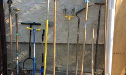 I have a good variety of garden tools for sale, dethatching rakes, lawn edger, cultivators, six different hoes, original garden claw, dandelion remover, bulb planter, 1 small rake, pitchforks,