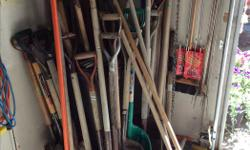 I have a good variety of garden tools for sale. Every kind of HOE that you can think of, RAKES, , CLAY/ROCK PICK, WEED REMOVING TOOL, , LAWN EDGER, SHOVELS, BROOMS, GARDEN WEASEL, DETHATCHING RAKE, BOW RAKES, HEDGE CLIPPERS, Come and get your pick before