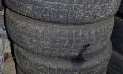 4 Dunlop Graspic tires with lots of tread left, only used one season. Pontiac Firefly, Suzuki Swift snow tires. size is 155 80 13