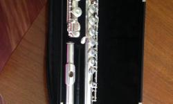 Solid silver Gerneinhardt flute with removable key stoppers. Doubles as both a closed and open holed flute. In perfect working condition. Only played for 3 years after buying brand new. I am also throwing in a collapsible music stand in a convenient