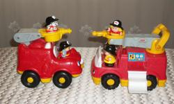 BY FISHER PRICE 2 LITTLE PEOPLE FIRE TRUCK. 1 SMALL FIRE TRUCK WITH 2 FIGURE (1 FIREMAN AND HIS DOG) PRESS ON FIGURE ON DRIVER'S SEAT FOR SOUND ASKING $8.00 1 BIGGER FIRE TRUCK WITH 3 FIGURE (2 FIREMAN (1GIRL)AND A DOG AND DETACHABLE LADDER. PRESS ON