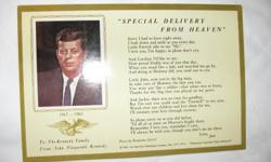 Giant Souvenir Kennedy Postcard   $55. -giant postcard with President John F. Kennedy dated 1963, (on front) -on the back a commemorative poem - dated -folder with John F. Kennedy, Pope John 23, Pope Paul 6