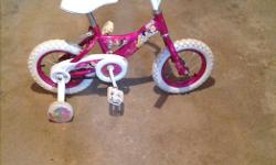 Girl's 12 inch Disney bike with training wheels, great shape, $45