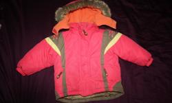 Very warm winter coat (Genevieve Lapierre) with matching hat and scarf, plus Roots hat and mittens (2-5 years)