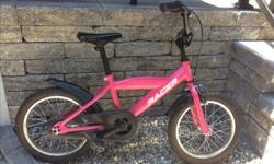 "Girls pink 16"" bike, comes complete with a set of training wheels which are easily attached. Pick up only please"