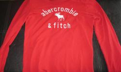 Girls ABERCROMBIE & FITCH long-sleeve top size x/l Color red with white lettering $10 can meet in west end of ottawa (kanata) or pickup in Constance Bay