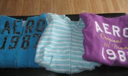 3 Items 1) Purple Aeropostale sweatshirt with hood (Noticed that there is a stain on arm - but otherwise in good condition) - size x/s 2) Blue Aeropostale hoodie size x/s 3) Light green/white striped hoodie (Live Love Dream line by Aeropostale) size