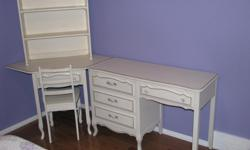 solid wood white , single bed , 2 dressers , desk and hutch and night Table , fair condition , can use repaint in some areas