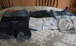 Have an assortment of girls shorts - as follows: Size 000 3 blue AEROPOSTALE jean shorts 1 pink AEROPOSTALE jean shorts 1 black HARLOW jean shorts Size 00 1 white AMERICAN EAGLE jean shorts 2 blue AMERICAN EAGLE jean shorts Size 0 1 blue ZCO jean shorts 1