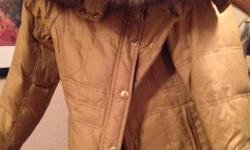 tan girls jacket made by babyphat with fur around hood, size small in great shape great for teenage girl or petite adult