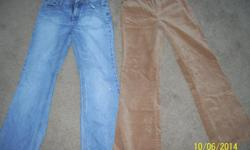 "I have 2 excellent pairs of jeans/pants that are girl's size 12. The beige ones are like a soft ""brushed"" pair and are very sharp looking. Other ones are regular denim jeans. I am selling them for $5 each."