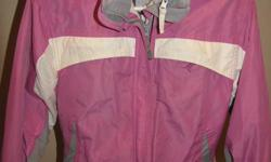 Pink/grey. SMX snowboard jacket with removable fleece-size M. Columbia snowpants size 10/12 good condition, small amount of wear on leg bottoms. Knees are good though.