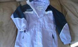 Girls Spring/Fall Jacket with hood Brand - COLUMBIA Size - 6(6x) Color - light purple/blue/white Shell - 100% Nylon Lining - 65% Polyester / 35% Cotton GREAT CONDITION ONLY $10!! can meet in west end of ottawa (kanata) or pickup in Constance Bay