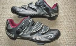For Sale: Giro `Solara` womans road cycle shoes. Ratchet top buckle and 2 velcro tie straps. Cleats are KeO style- or can be changed. Mint condition...size 40 euro or sz. 7.5 usa ...$50.