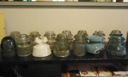 i have a total of 12 glass insulators and 2 porcelain the makers are as listed armstrong whitall tatum dominion hemingray canadian pacific ry co some have a few chips and cracks but others are in good condition all were found in grand forks b.c. along the