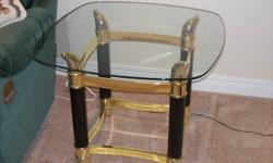 In excellent condition, 1 large table (coffee table) and 2 end tables with glass top.