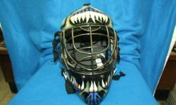 """Franklyn brand street hockey helmet for goalie, in good condition with pretty cool images. From a clean, non-smoking, no pets environment. For further information: click on """"GO TO AD LISTINGS"""" {top left corner of this Ad}. Consigned for Storage at: The"""