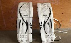 Reebok L9 Intermediate Ice Hockey goaltender pads; 31 +1; hybrid; Peewee / Bantam, 3 seasons old.