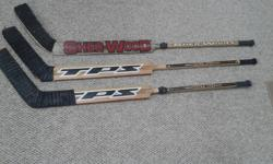 (1) Louisville TPS (Chechmanek) Extra Light (Birch) Straight blades. $25 ea. Excellent for the keeper who holds the stick opposite of the way he shoots/passes. (1) Sherwood 9950 (Theodore) Left Hand curved blade. $25 Both for $45. One of the pictured