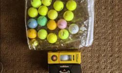 18 Assorted Neon Color Golf Balls & 2 packs of new white golf balls