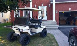 Golf cart , 2006 Club Car 48 volts. Used to drive around camp ground. 6 inch lift kit, tires 23x105-12 tires black rims.. LED lights front and back. Mirrors and windshield . New seat covers. Very good condition. A must see Posting for a friend call Denis