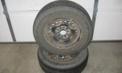 For sell - 2 goodyear Allegra all season tires - 205-70R15. This are mounted and balanced on chrysler rims but will fit other cars. Rim specs are; bolt pattern 5x114.3, center bore 71.5, off set between 34-42 mm. If your not sure if these will fit your