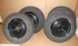 Set of four Goodyear Nordic winter tires and rims for sale. 215/60 R15 with GM Rims. Used one season $400 OBO. Contact : 905-775-0869