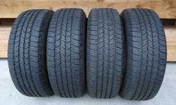 Set of 4 All-Season Tires in Absolutely Brand New Condition Goodyear Wrangler SR-A 265/65/R18 112T M+S Rated Taken off a 2016 GMC Truck after approx. 200-300 kms Tires still have the rubber trim pieces on the tread surface Retail Price @ Canadian Tire is