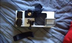 GoPro hero+, used once, camera features: waterproof to 141' (40m) built in waterproof housing 1080p @ 60 frames video 8mp photo time-lapse video burst photo Comes with original packaging and all box components: - curved and flat adhesive mounts