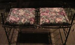 """THIS IS SO BEAUTIFUL...WHAT A GREAT PIECE !!! IT MEASURES 40"""" WIDE, 20"""" DEEP & 17"""" FROM THE GROUND TO THE METAL. WOULD BE GREAT IN AN ENTRANCE OR EXTRA SEATING ANYWHERE. THE CUSHIONS JUST TIE ON, SO YOU COULD CHANGE THEM EASILY. VERY STURDY METAL. THE"""