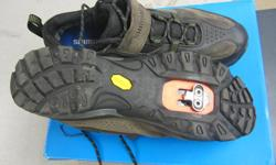 These Gortex shoes fit one size smaller than the last pair I had . I wore them about 4 times but decided that I needed size 47. They are Shimano SH-MT71 and are great for touring or mountain biking. They have cleats not new but lots of life.
