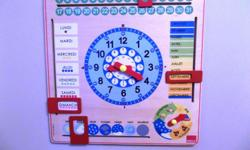 Great for preschool, daycare, etc. Retails for $45 + tax Asking $20.00 Children are fascinated by time, and its progress through the day and week, from a young age. But actually being able to tell the time, identify the day or the date, is a skill that