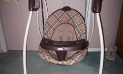 Graco  6 speed swing. Battery operated. Soothing music. Teddybear mobile. Perfect condition, only used 4 times. Asking $50.00
